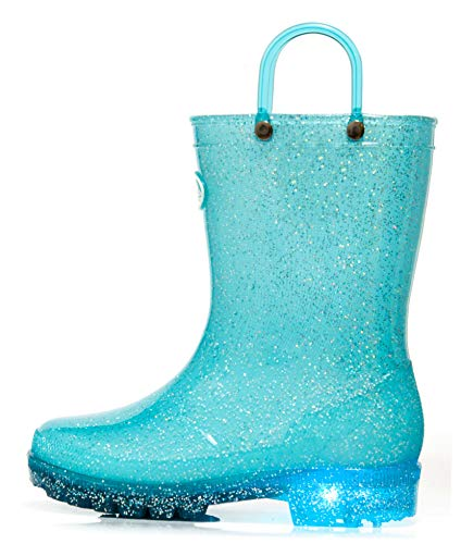 Outee Toddler Girls Kids Light Up Rain Boots Waterproof Shoes Glitter Lightweight Cute Lovely with Easy-on Handles and Insole (Size 9,Blue)