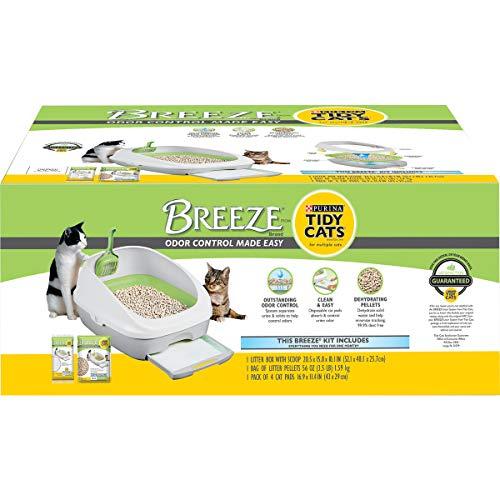 Purina Tidy Cats Litter Box System, Breeze System Starter Kit Litter Box, Litter Pellets & Pads