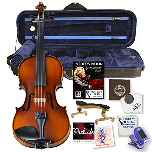 Bunnel G1 Violin Clearance Outfit 3/4 Size - Carrying Case and Accessories Included - Highest Quality Solid Maple Wood and Ebony Fittings By Kennedy Violins