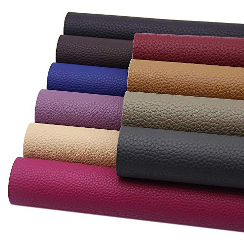 David Angie 10 Pcs Solid PU Synthetic Leather Litchi Faux Leather Sheet 7.9' x 13.4' (20 x 34 ) Perfect for Making Hair Bow Wallet Handbags Dressing Sewing Crafting DIY Projects (Dark Color Leahter)
