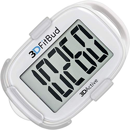 3DFitBud Simple Step Counter Walking 3D Pedometer with Lanyard, A420S (White with Clip)