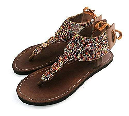 GlobalHandmade Reef Sandy Sandals for Women - Handmade Summer Reef Flip Flops for Women - Lace Up Ankle Strap Flat Women's Casual Summer Leather Sandal Shoes