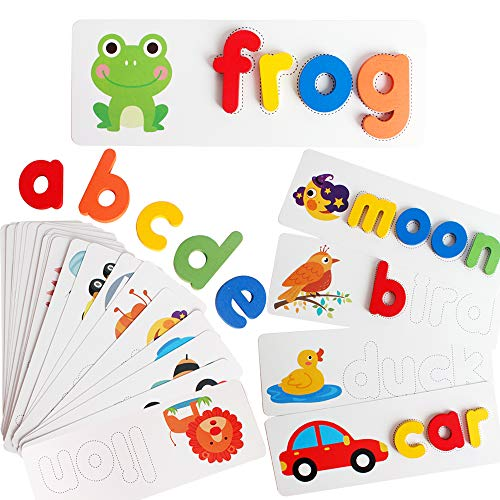 CHIYR Spelling Game Learning Toys Wooden ABC Alphabet Flash Cards Matching Shape Letters Word Puzzle Games Educational Developmental Toy Preschool Montessori STEM Gift Toys for Kids Toddler