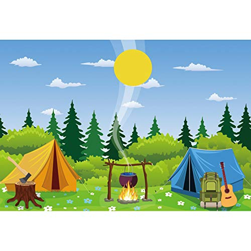 CSFOTO 7x5ft Cartoon Camp Backdrop Camping Theme Party Wild Hiking Bag Guitar Field Survival Training Tent Campfire Felling Forest Sun Background for Photography Vinyl Wallpaper