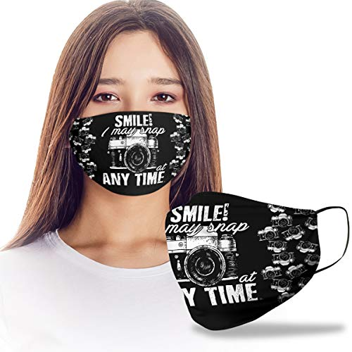 VTH GLOBAL Smile I May Snap at Anytime Photographer Photography Camera Design Print Cloth Reusable Washable Face Mask Women Men for Dust Protection