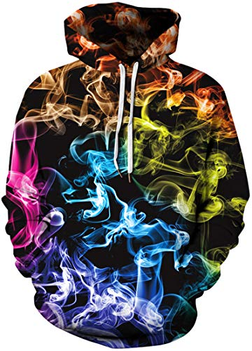 Pandolah Men's Athletic 3D Animal Cosmic Galaxy Printed Hoodies SweatshirtsColor Smoke231-cXX-Large-3X-Large