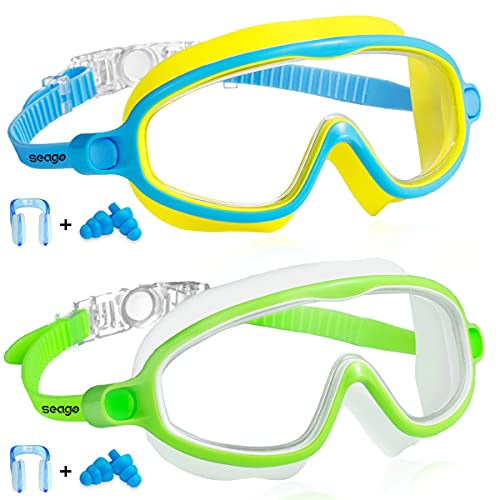 Kids Goggles for Swimming 2 Pack No Leaking Anti-Fog Outer Eye Fit with Wide View UV Protection Crystal Clear Watertight Swim Goggles with nose cover Suitable for Children Youth Boys Girls Age 3 to 15