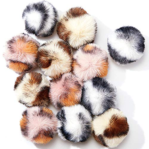 12 Pieces Large Plush Soft Artificial Fur Patch Puff Pom Balls Cat Toy Catnip Toy Balls, 2 Inches