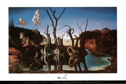 Salvador Dali - Swans Reflecting Elephants Art Print Poster - 36x24