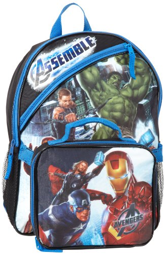 Fast Forward Little Boys' Avengers Backpack with Detachable Lunch Bag , Blue/Black, One Size