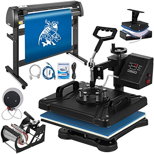 Mophorn Heat Press Machine 12x15 inch 5in1 T-Shirt Heat Press and Vinyl Cutter 53 inch Plotter Machine 1350mm Paper Feed Vinyl Cutter Plotter
