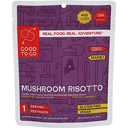 GOOD TO-GO Mushroom Risotto - Single Serving   Dehydrated Backpacking and Camping Food   Lightweight   Easy to Prepare