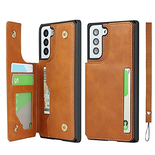 Jaorty Galaxy S21 Plus 5G Credit Card Holder Case,Cash Slots,Double Magnetic Buttons Stand Function Soft TPU Back Wallet Case Flip Wrist Strap PU Leather Case for Samsung Galaxy S21 Plus 5G 6.7',Khaki