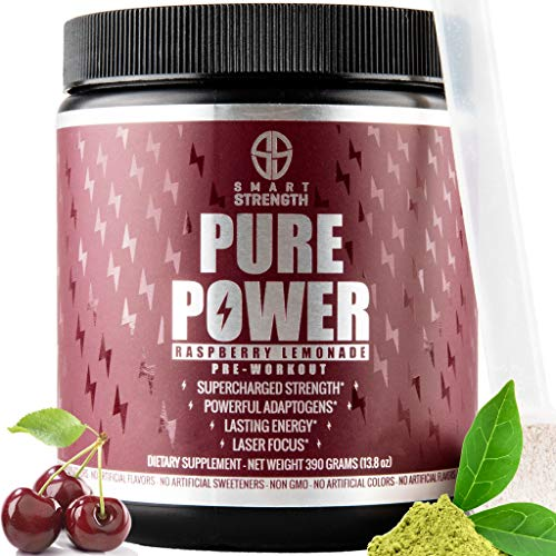 Pre Workout, Best All Natural PreWorkout Supplement. PURE POWER, Healthy Pump, Clean, Keto Vegan, Paleo, Thermogenic Pre Work Out Powder for Men & Women, Weight Loss & Energy - 390g Raspberry Lemonade