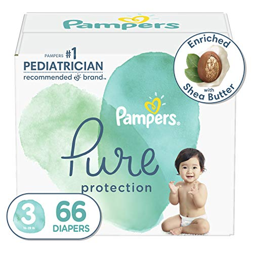Diapers Size 3, 66 Count - Pampers Pure Protection Disposable Baby Diapers, Hypoallergenic and Unscented Protection, Super Pack (Packaging May Vary)