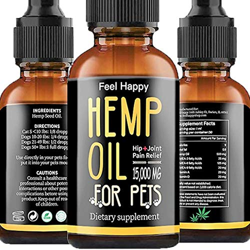 Feel Happy 15000 Natural Pet Hemp Oil for Dogs & Cats Calming Aid for Stress, Dogs Arthritis, Separation, Anxiety Relief, Dogs Joint & Hips Pain, Cats Treats Skin and Coat, Omega 3, 6 & 9 Made in USA