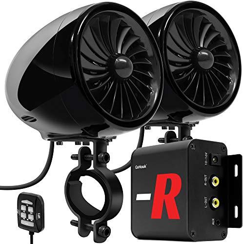 GoHawk TJ4-R Amplifier 4' Full Range Waterproof Bluetooth Motorcycle Stereo Speakers 1 to 1.5 in. Handlebar Mount Audio Amp System Harley Touring Cruiser ATV UTV RZR, AUX, FM Radio (TJ4-R Black)