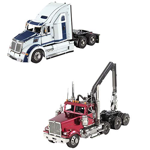 fascinations Metal Earth 3D Metal Model Kits Western Star Trucks Set of 2 - 5700XE Phantom - 4900SF Log Truck