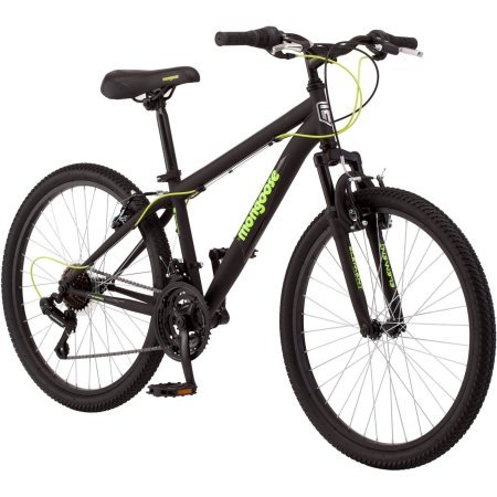 Mongoose 24' Excursion Boys' Mountain Bike, Black/Green