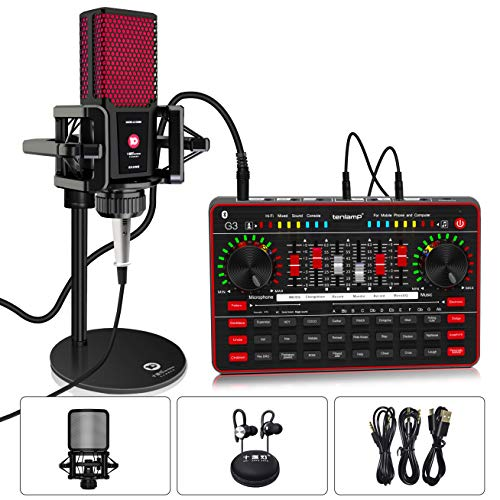 Podcast Microphone Sound Card Kit, Professional Studio Condenser Mic & G3 Live Sound Mixer/Voice Changer/Audio Interface/Audio Mixer for Streaming/Gaming/Recording/Singing/Tiktok/YouTube/PC/Computer