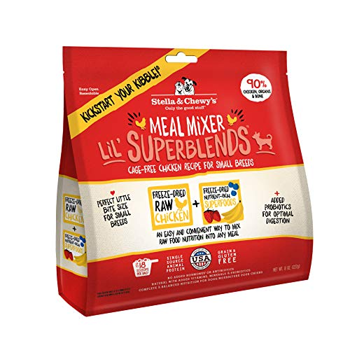 Stella & Chewy's Freeze-Dried Raw Cage-Free Chicken Meal Mixer Lil' SuperBlends Grain-Free Dog Food Topper, 8 oz. bag, LIL-SBCM-8