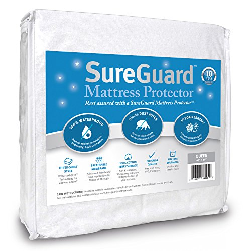 SureGuard Queen Size Mattress Protector - 100% Waterproof, Hypoallergenic - Premium Fitted Cotton Terry Cover