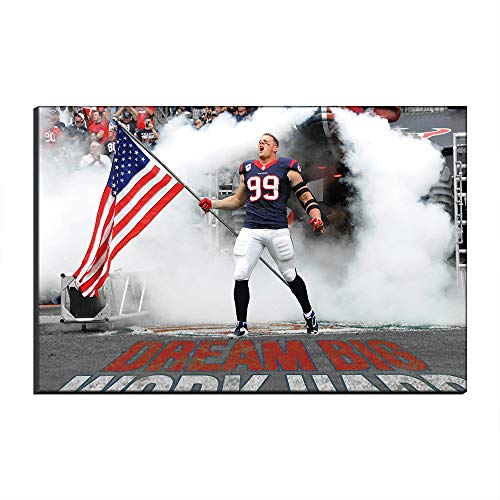 WALKKING WAYS Artwork Home Decor Wall Art Canvas Pictures American Football JJ Watt NFL Houston Texans Rugby Sports Poster Oil Painting Canvas Prints (Unframed,30x50 cm)