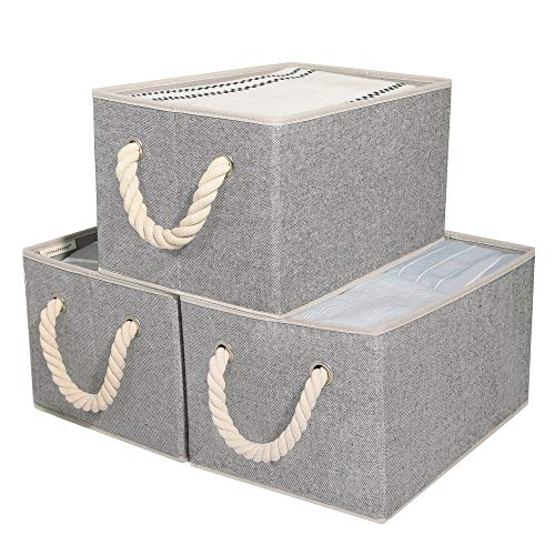 StorageWorks Storage Boxes for Shelves with Cotton Rope Handles, Closet Storage Bin, Rectangle, Gray, 3-Pack, Large