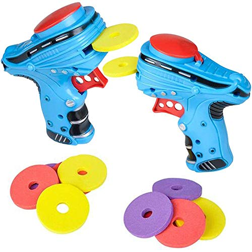 ArtCreativity Auto Disc Shooter, Set of 2 Disk Launcher Toy Guns with 1 Blaster and 6 Foam Discs Each, Outdoor Games and Activities for Summer, Backyard, Picnic Fun, Colors May Vary.