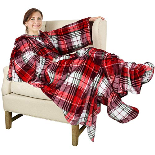 Catalonia Wearable Fleece Blanket with Sleeves and Foot Pockets for Adult Women Men,Micro Plush Comfy Wrap Sleeved Throw Blanket Robe Large,Red Plaid