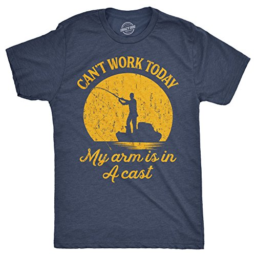 Mens Can't Work Today My Arm is in A Cast T-Shirt Funny Fishing Fathers Day Tee (Heather Navy) - M