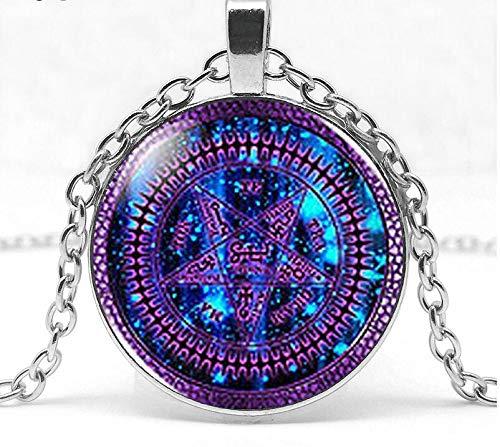Steampunk Black Butler Purple Tetragrammaton Anime Glass Pendant Art Pendant Romance Photo Necklace Originality Necklace