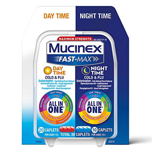 Mucinex Fast-Max Day Time Cold & Flu and Night Time Cold & Flu Medicine, Maximum Strength All in One Multi Symptom Relief for Congestion, Sore Throat, Headache, Cough and Reduces Fever, 30 Caplets