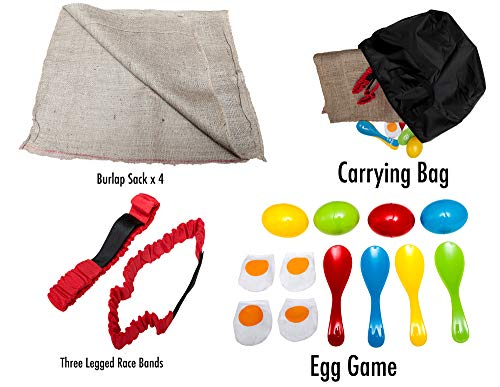 3 Fun Outside Games For Kids And Adults - The Potato Sack Race, the 3 Legged Relay Race and the Egg and Spoon Race - Compact bag for easy storage