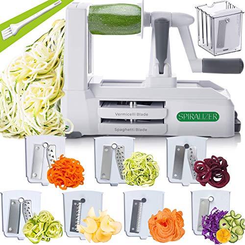Spiralizer 7-Blade Vegetable Slicer, Strongest-and-Heaviest Spiral Slicer, Best Veggie Pasta Spaghetti Maker for Keto/Paleo/Gluten-Free, Comes with 4 Recipe Ebooks