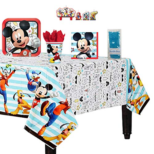 Bundle Bop Mickey Mouse Party Supplies for Your Mickey Mouse Party - Includes Mickey Mouse Plates, Napkins, Cups, Tablecloth and Mickey Mouse Birthday Candle - Serves 16 Guests