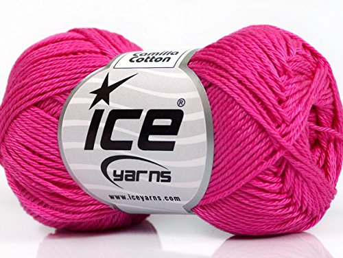 Lot of 6 Skeins Ice Yarns CAMILLA COTTON (100% Mercerized Cotton) Yarn Fuchsia
