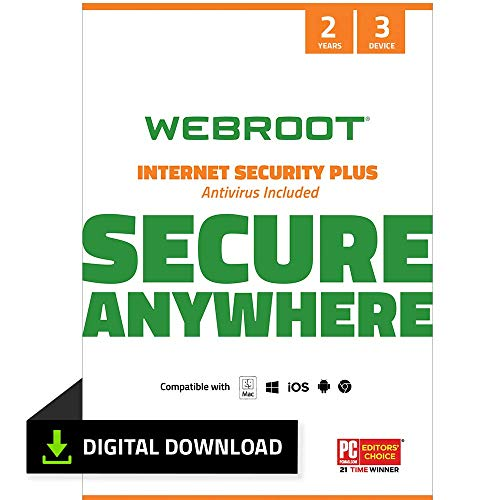 Webroot Internet Security Plus with Antivirus Protection Software | 3 Device | 2 Year Subscription | PC Download