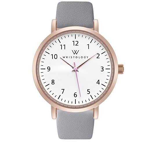 WRISTOLOGY Olivia Womens Watch Numbers Rose Gold Boyfriend Ladies Grey Leather Strap Band
