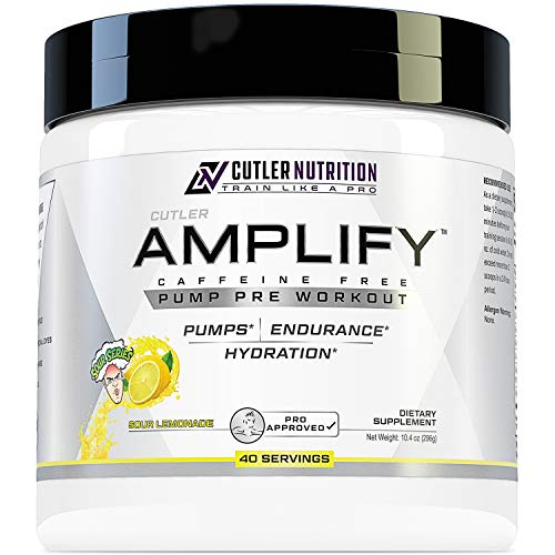 Amplify Caffeine Free Pre Workout for Men and Women: Stim Free Muscle Pump Enhancer, Hydration Powder with L Citrulline, Creatine HCl for High Volume Training | Sour Lemonade, 40 Servings