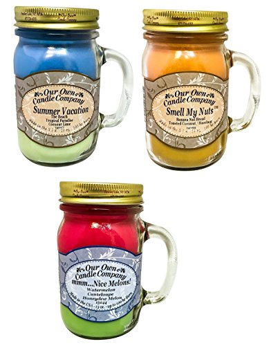 Our Own Candle Company Summer Vacation, Mmm. Nice Melons!, and Smell My Nuts Candles 3 Variety Pack (3)