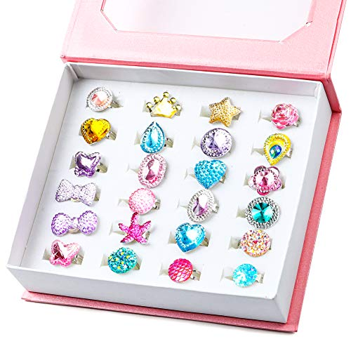 WATINC 24Pcs Adjustable Princess Pretend Jewelry Rings, Girl's Jewelry Dress Up Play Toys, Rhinestone Gift Set in Box for Little Girls, No Duplication Diamond Ring for Children, Party Favors for Kids