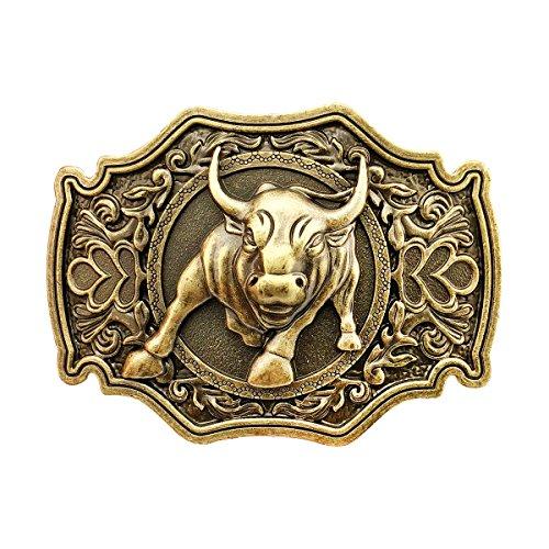 QUKE Bronze Long Horn Bull Rodeo Western Cowboy Belt Buckle For Men