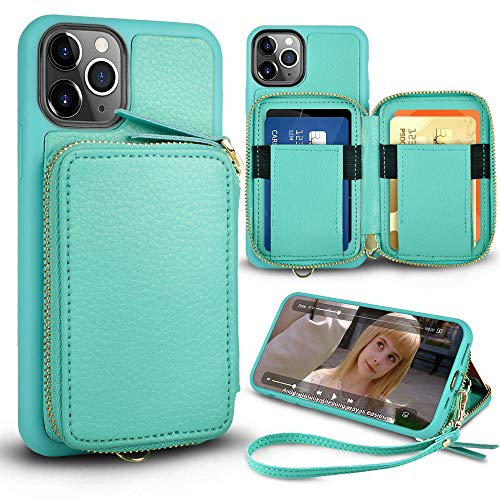 iPhone 11 Pro Max Wallet Case,ZVE iPhone 11 Pro Max Zipper Case with Credit Card Holder Slot Handbag Purse with Wrist Strap Leather Case for Apple iPhone 11 Pro Max 6.5 inch - Mint Green