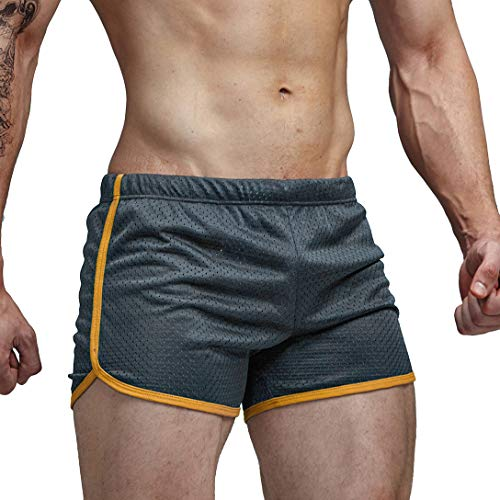 AIMPACT Mens Gym Shorts Running Trunks Quick Drying Athletic Boxer Square Cut Trunks(Grey XL)