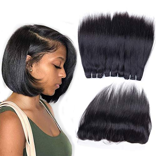 Brazilian Straight Hair Bundles with Frontal Virgin Human Hair 3 Bundles with Frontal Lace Closure Unprocessed 10A Straight Weave Bundles with 13x4 Ear to Ear Frontal 50g/pc (10 10 10+8)