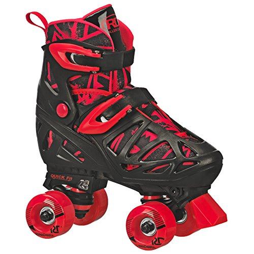 Roller Derby Trac Star Boy's Adjustable Roller Skate, Grey/Black/Red, Medium (12-2)