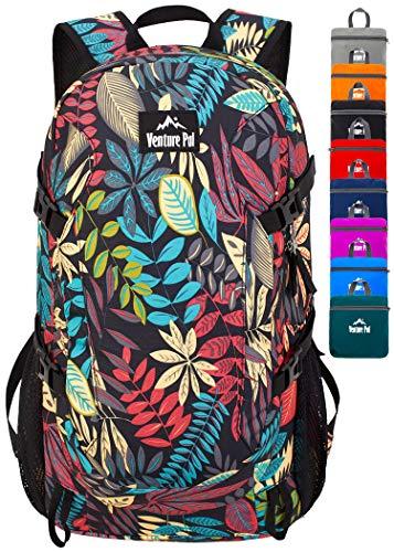 Venture Pal 40L Lightweight Packable Travel Hiking Backpack Daypack, A4 Black Leaf, One Size