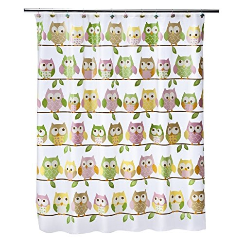 Saturday Knight LTD Circo Love 'n Nature Peva Pastel Owls Shower Curtain