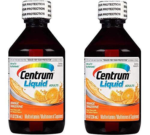 Centrum Liquid Adults MultiVitamin MultiMineral Supplement with 11 Key Nutrients for Energy, Immunity, Metabolism and Whole Body Health in Orange Tangerine Flavor (8 Oz/236 ML) Pack of 2